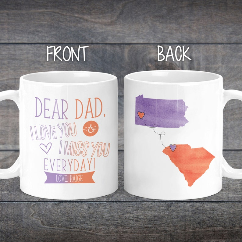 Fathers Day Gift Long Distance Mug For Dad State