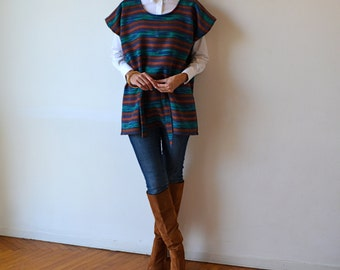 Wool tribal poncho. Belted poncho vest. Wool tunic. Wool poncho tunic. Plus size. Maternity.