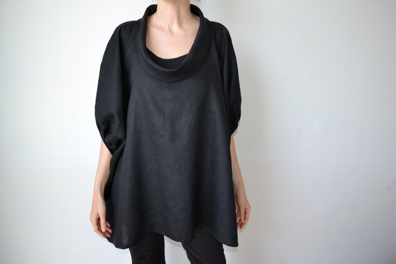 ee91fdcf3f5 Black linen top   linen tunic   Plus size clothing   Plus size