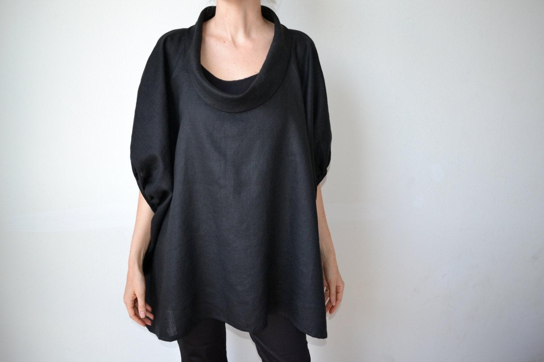 1a0c3183c1c Black linen top   linen tunic   Plus size clothing   Plus size