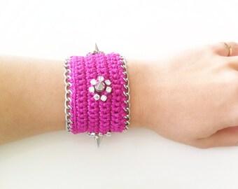 Crochet Bracelet With Spike and Rhinestone