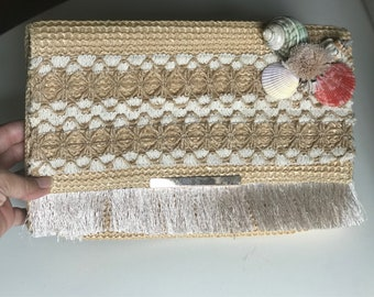 Embroidered clutch with shells/summer clutches