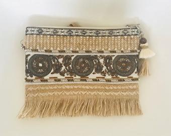 Embroidered messenger bag/ handmade clutch and messenger bag