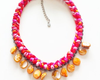 Woven Charm and Chain Necklace