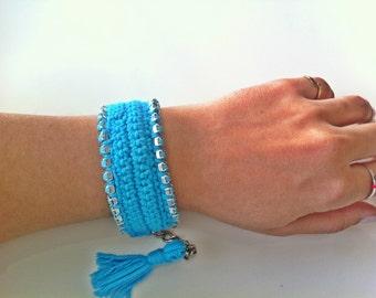 Turquoise Rhinestone Crochet Bracelet