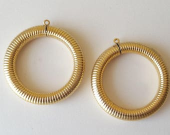 2 Vintage gold plated brass hoops