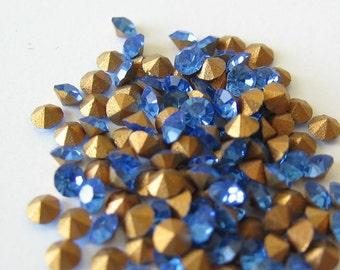 Swarovski Sapphire blue crystal rhinestone SS7  2.1-2.3mm 50pcs