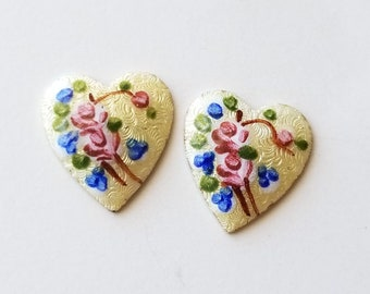 2 Vintage Guilloche Enamel Heart Cab Cabochon Findings