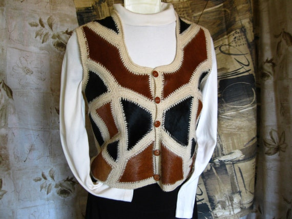 """Vintage 1980s Brown and Black """" Ponyskin """" and Whi"""