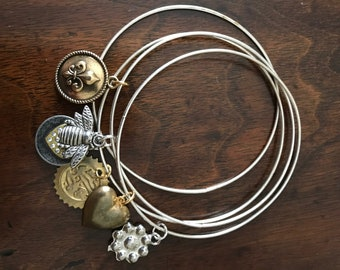 Silver Tone Bangle Bracelets With Charms