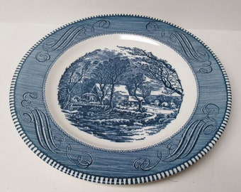 Vintage Currier and Ives Royal China Old Grist Mill Dinner Plates Set of Six Blue and White Transferware