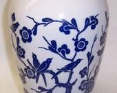 Anchor Hocking Fire King VITROCK 9 Inch High Blue BIRDS and FLOWER Vase
