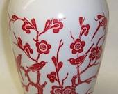 Anchor Hocking VITROCK 9 Inch High Red BIRD and FLOWER Vase