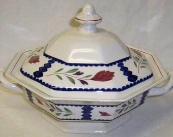 Adams China LANCASTER Handled Covered Vegetable Serving Bowl