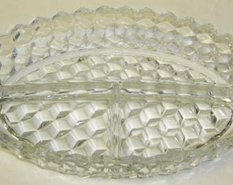 Fostoria Glass Crystal AMERICAN Elegant Glass 3 Part Oval Relish Dish