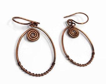 Copper Wire Wrap Dangle Earrings/ Copper Earrings/ Hammered Copper Earrings/ Wire Wrap Earrings/ Copper Jewelry/ Wire Wrap Jewelry