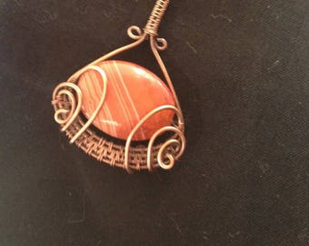 Wire Wrapped Necklace Pendant/ Copper Wire Wrapped Necklace Pendant/Wire Wrap Jewelry/Agate Jewelry/Wire Wrapping/Wire Wrapped