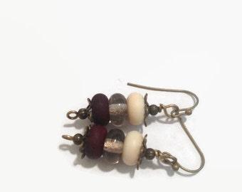 Antiqued Bronze Lampwork Beaded Earrings/ Dangle Earrings/ Drop Earrings/ Natural Earrings/ Boho Earrings/ Tan Brown Earrings