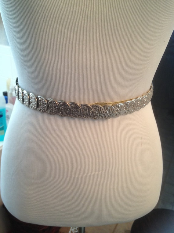 Vintage Silver Toned Coin Cinch Belt/Embossed Stam