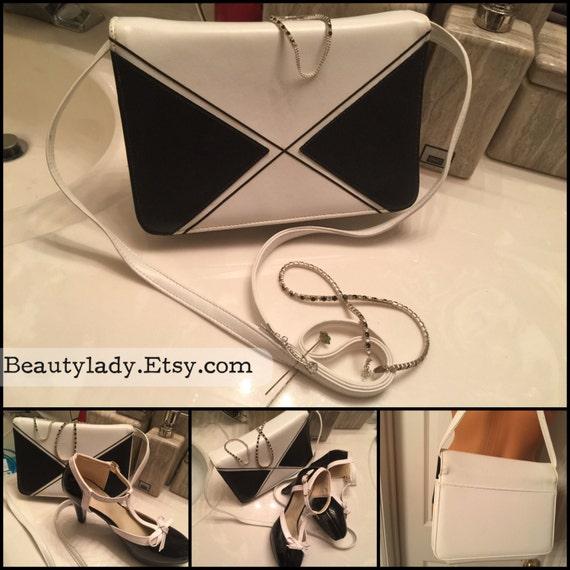 Vintage Black & White Color Block Handbag /Black a