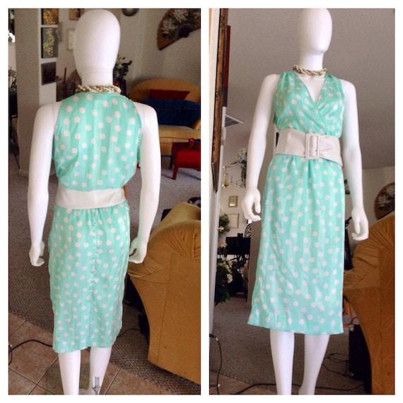 Vintage 1980's Halston Dress / Pistachio Green Ha… - image 2