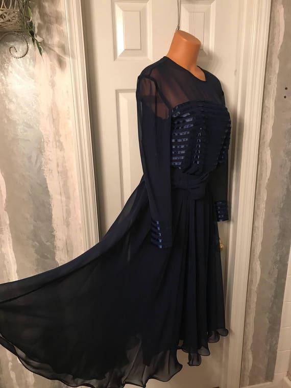 Vintage Raymond's Blue Chiffon Dress/ Ballroom Dre