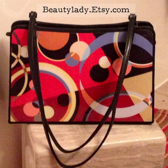 Vintage 1960's-70s Psychedelic Print Purse / Geome