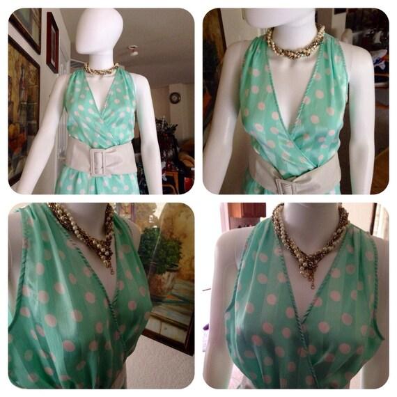 Vintage 1980's Halston Dress / Pistachio Green Ha… - image 4