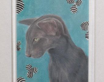 Fridge Magnet - Oriental Cat - Print From Original Painting 'Yoshi'