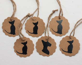 Set of 6 Cat Silhouette Gift Tags - 5 cm in diameter