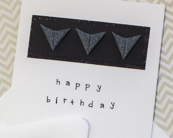 """Handmade Greeting Card - Happy Birthday - 4x4"""" Card With Envelope - Polymer Clay Details"""