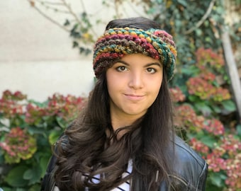 Super Chunky Turban, Knit Headband, Knit earwarmer, Turban earwarmer