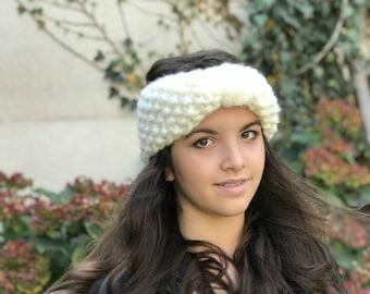 Super Chunky Off White Turban, Knit Headband, Knit earwarmer, Turban earwarmer