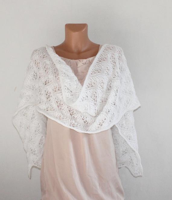 Blanco tejer chal mantón de novia boda chal chal de   Etsy