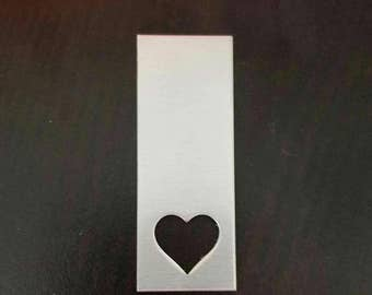 Aluminum 3/4 x 2 Inch rectangle with Heart Cut Out Blank, 14g Aluminum Stamping Blanks Stamping Supplies, Hand Stamping Jewelry Supplies