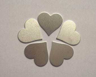 Heart Shaped Stamping Blank .75 or 3/4 inch, 14g Aluminum Stamping Blanks Stamping Supplies, Hand Stamping Jewelry Supplies
