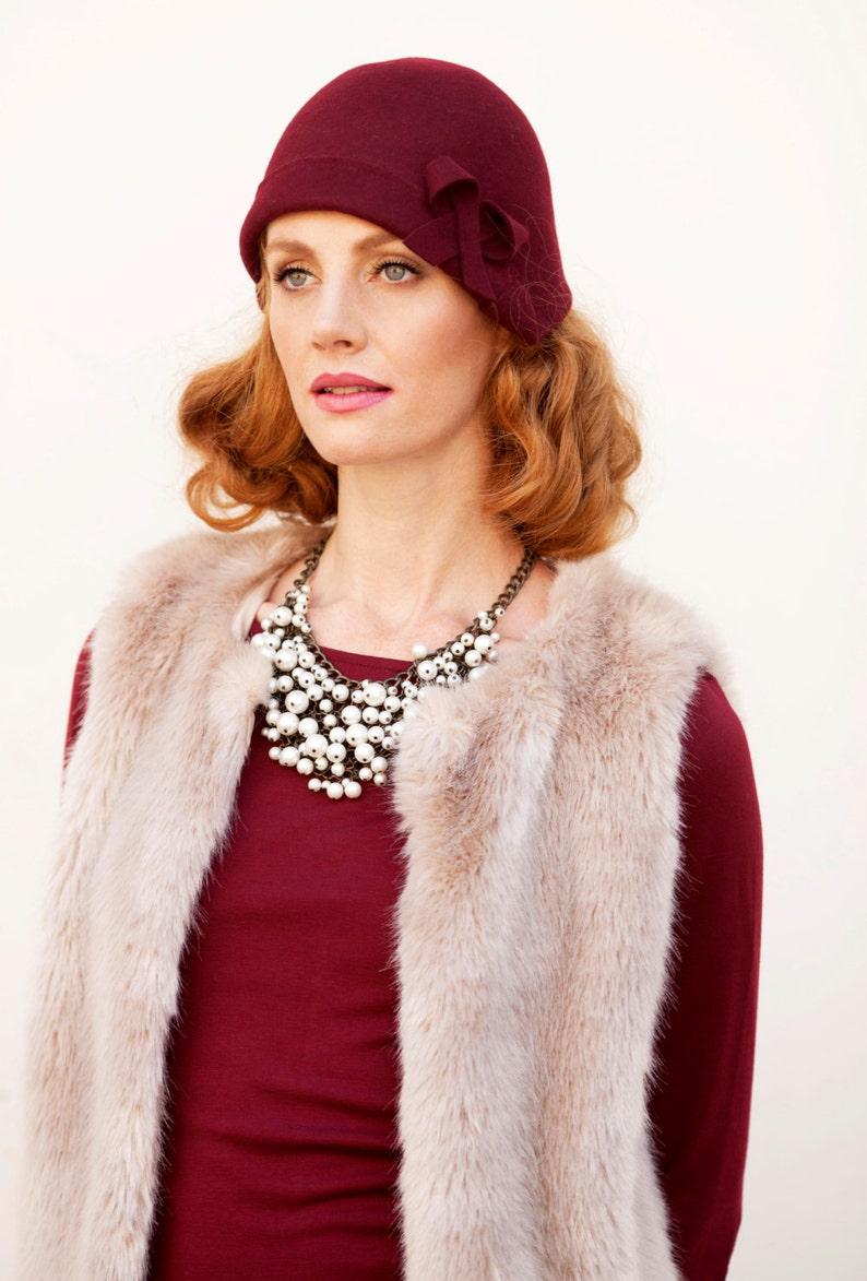 68f1b682ff47d Burgundy cloche hat vintage style flapper hat gatsby style