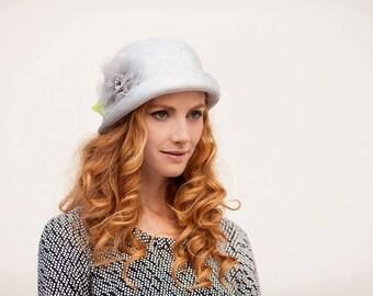 Light grey cloche hat , Summer hat, cloche hat for women,vintage style ha,1920 style hat, flapper hat, summer brim hat MADE TO ORDER