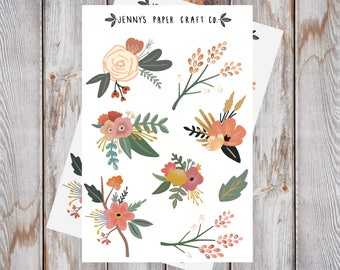 ff0456ad 2-Pack Floral Stickers for Journal or Planner