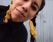 Fringe Earrings, Yellow Earrings, Fiber Earrings, Natural dye, Plant dye, Large Earrings, Oaxaca, Bold Jewelry, Statement Jewelry