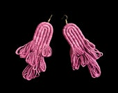 Fiber Earrings, Fiber Art, Contemporary Jewelry, Contemporary jewellery, Naturally dyed Earrings, Naturally dyed threads, Oaxaca, Cochineal