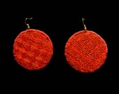 Red Earrings, round earrings, Embroidered earrings, Red Jewelry, Statement earrings, Chain stitch embroidery, Oaxacan embroideries, Oaxacan