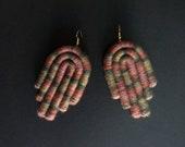 Statement Earrings, Multicolor Earrings, Fiber Earrings, Multicolor Jewelry, Merino Wool, Textile Earrings, Wool Earrings, Statement Jewel