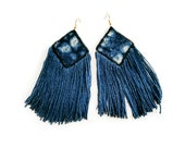 Rhombus Jewelry, Dangle Earrings, Fringed Blue Earrings, Indigo dye, Indigo Fabric, Shibori, Indigo cloth earrings, Blue large earrings