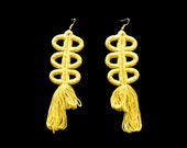 Yellow Earrings, Fringe Earrings, Fiber Jewelry, Fiber Earrings, Fiber Art, Naturally dyed