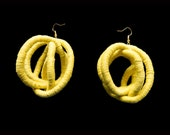 Yellow Earrings, Naturally dyed, plant dyed, Statement Earrings, Yellow Jewelry, Fiber Earrings, Fiber Jewelry, Fiber art, Oaxaca