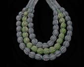 SILVINA - Triple Necklace  - Oaxacan Textiles - Olive Green / Gray