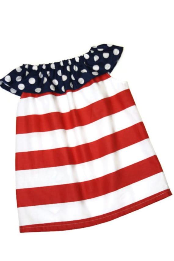 f37b18b46b Red Stripe Baby toddler and girls Dress Patriotic 4th of