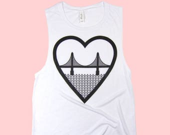 I Heart San Francisco Golden Gate Bridge Womens Tank Top White