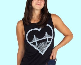 I Heart San Francisco Golden Gate Bridge Womens Tank Top Black